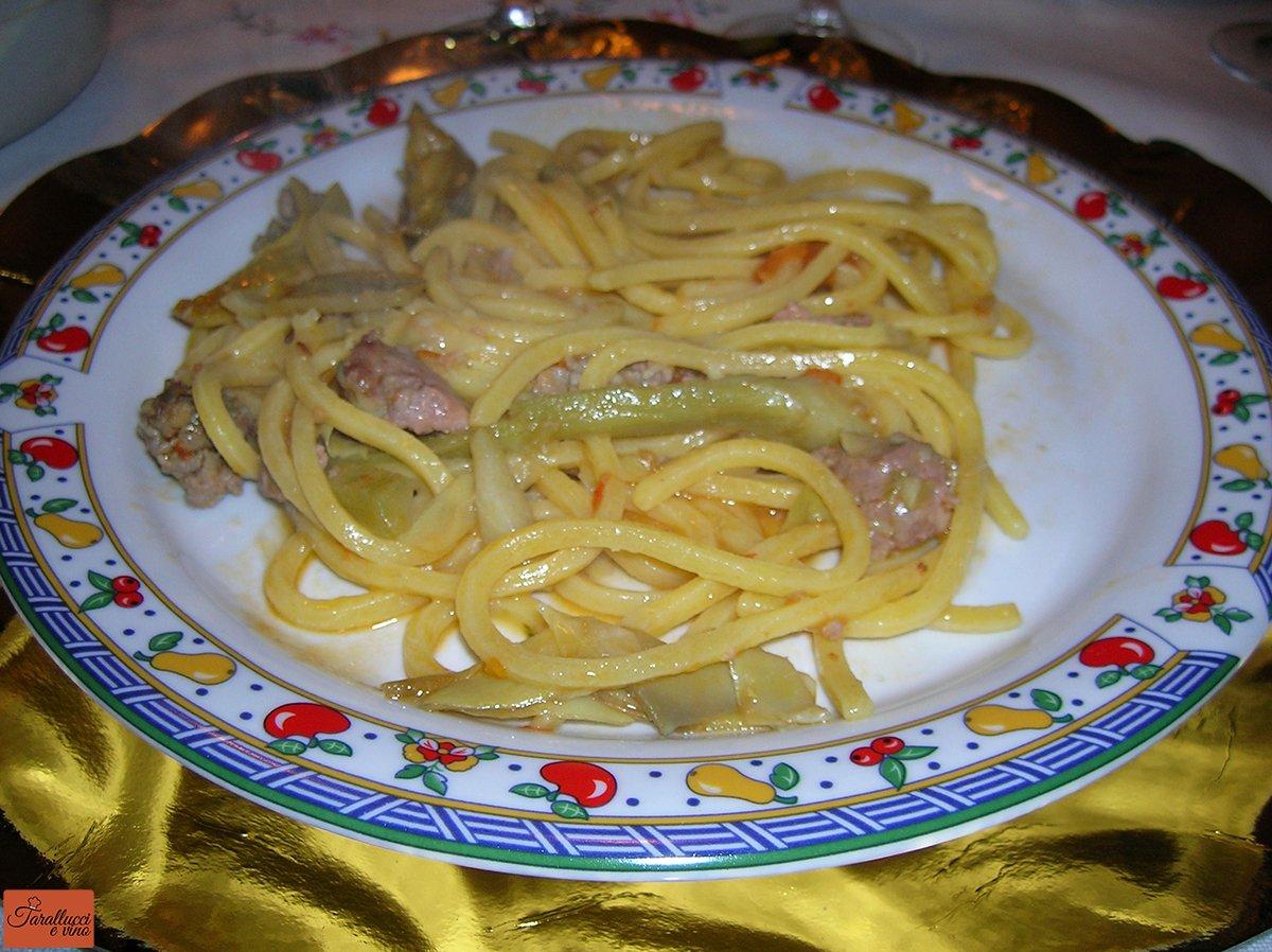 Tonnarelli carciofi e salsiccia