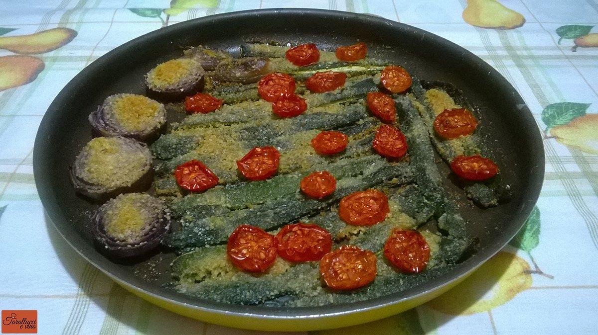zucchine, cipolle e pomodorini gratinati